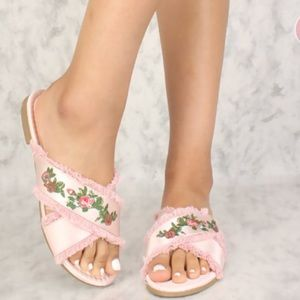 Shoes - Sexy Pink Frayed Floral Embroidered Sandals Satin